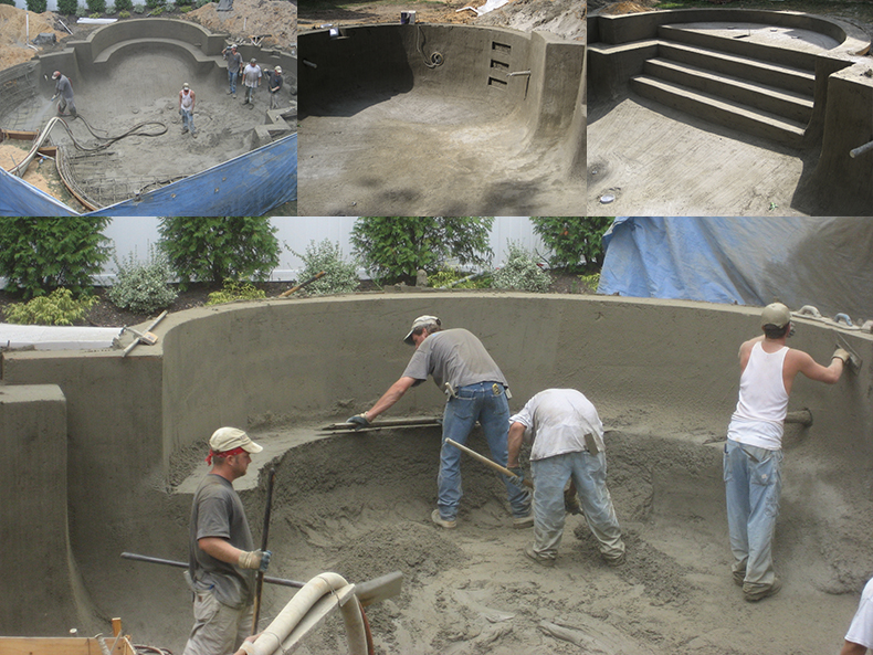 Gunite pool construction process landi pools games for In ground swimming pool contractors