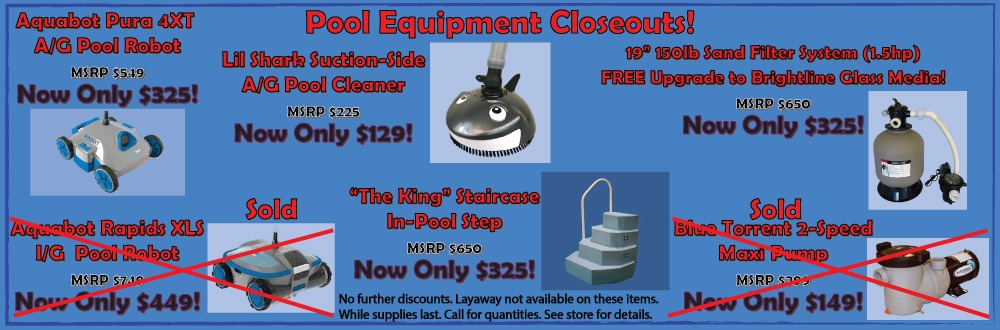 Pool Equipment Closeouts